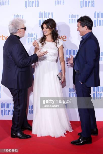 Director Pedro Almodovar actress Penelope Cruz and actor Antonio Banderas attend the 'Dolor y Gloria' premiere at Capitol cinema on March 13 2019 in...