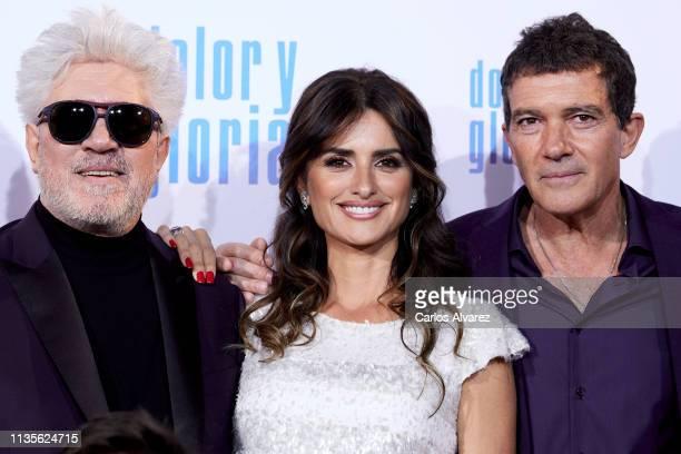 Director Pedro Almodovar, actress Penelope Cruz and actor Antonio Banderas attend 'Dolor y Gloria' premiere at the Capitol cinema on March 13, 2019...