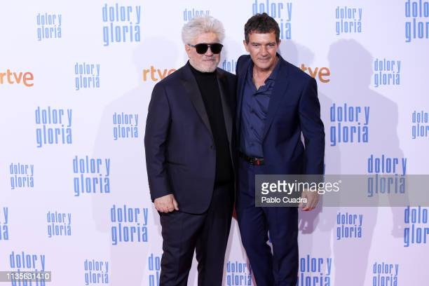 Director Pedro Almodovar and actor Antonio Banderas attend the 'Dolor y Gloria' premiere at Capitol cinema on March 13 2019 in Madrid Spain