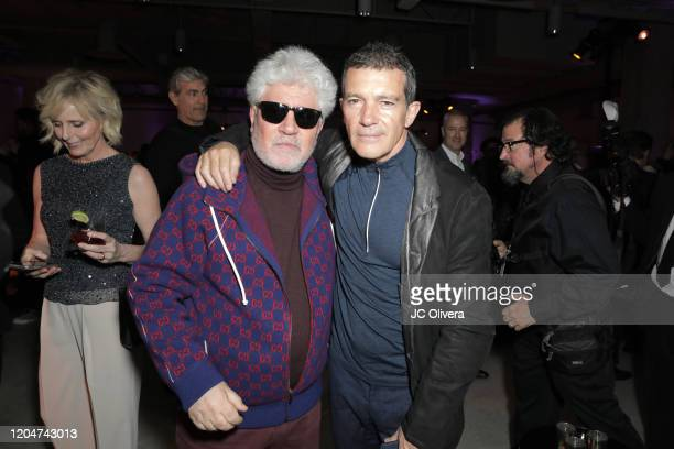 Director Pedro Almodovar and actor Antonio Banderas attend The Oscars International Feature Film Nominees Cocktail Reception on February 07, 2020 in...