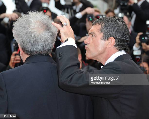 Director Pedro Almodovar and actor Antonio Banderas attend the The Skin I Live In premiere at the Palais des Festivals during the 64th Cannes Film...