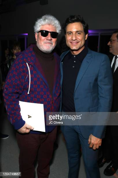 Director Pedro Almodovar and actor Edgar Ramirez attend The Oscars International Feature Film Nominees Cocktail Reception on February 07, 2020 in Los...