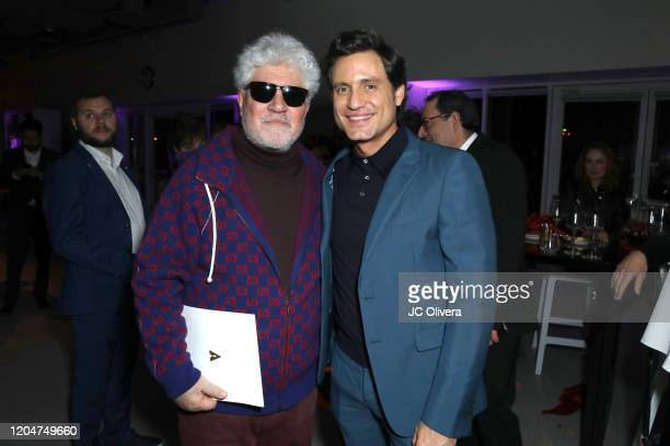 Director Pedro Almodovar and actor Edgar Ramirez attend The Oscars International Feature Film Nominees Cocktail Reception on February 07 2020 in Los...