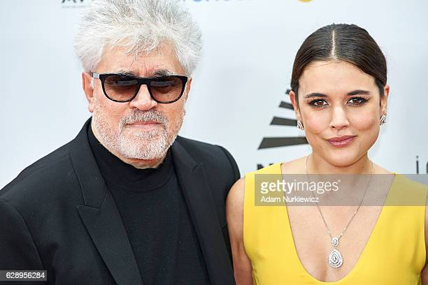 Director Pedro Almodovar and actress Adriana Ugarte smile on the red carpet during the European Film Awards 2016 at The National Forum of Music on...