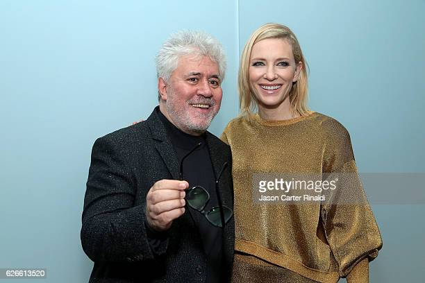Director Pedro Almodovar and actress Cate Blanchett attend the Pedro Almodovar Retrospective Opening Night at the Museum of Modern Art on November 29...