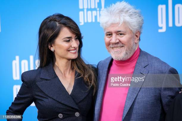 Director Pedro Almodovar and actress Penelope Cruz attend the 'Dolor y Gloria' photocall at Villamagna Hotel on March 12, 2019 in Madrid, Spain.