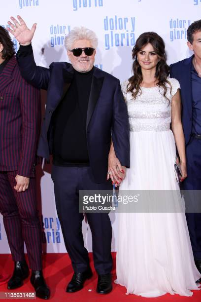Director Pedro Almodovar and actress Penelope Cruz attend the 'Dolor y Gloria' premiere at Capitol cinema on March 13 2019 in Madrid Spain