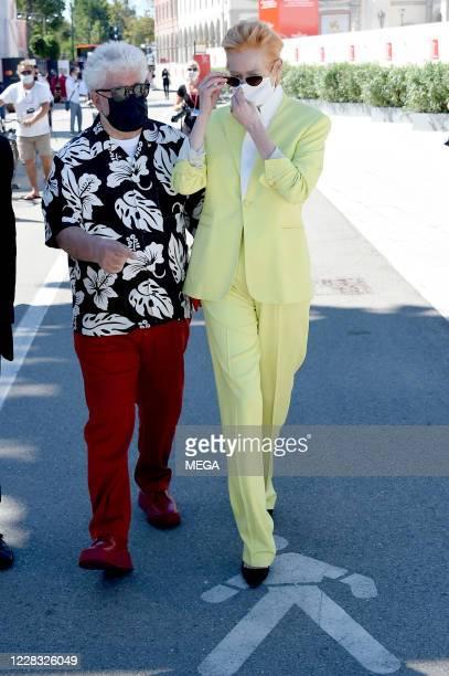 Director Pedro Almodovar and actress Tilda Swinton walking to Palazzo del Cinema on September 3, 2020 in Venice, Italy.