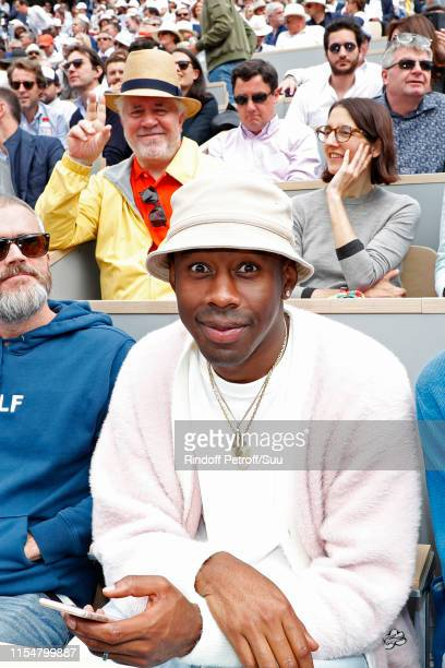Director Pedro Almodovar and Tyler The Creator aka Tyler Okonma attend the 2019 French Tennis Open Day Fifteen at Roland Garros on June 09 2019 in...