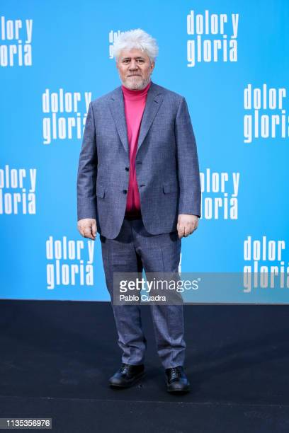 Director Pedro Almodovar attends the 'Dolor y Gloria' photocall at Villamagna Hotel on March 12 2019 in Madrid Spain
