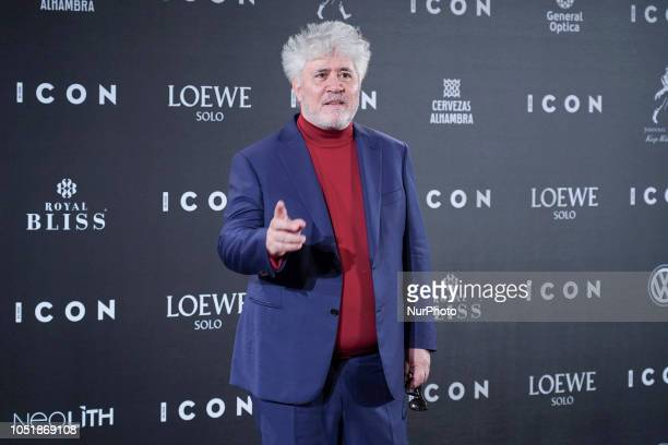 Director Pedro Almodovar attends the 'Icon Awards 2018' photocall at Real Tapestry Factory on October 10 2018 in Madrid Spain