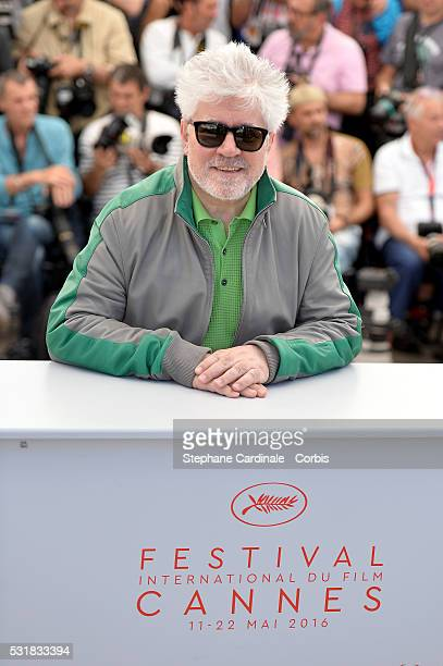 Director Pedro Almodovar attends the 'Julieta' photocall during the 69th annual Cannes Film Festival at the Palais des Festivals on May 17 2016 in...