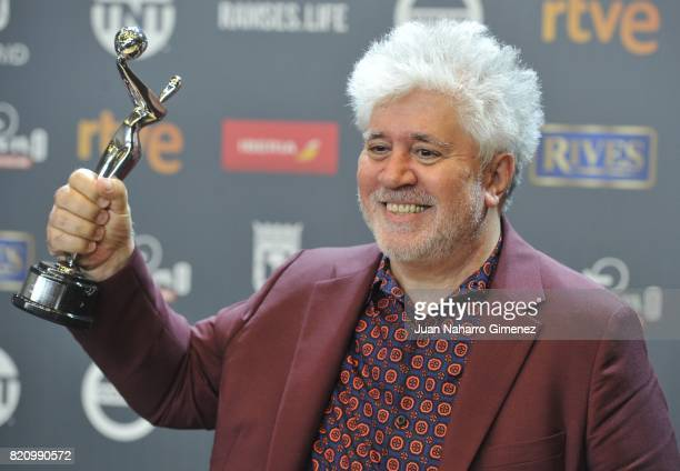Director Pedro Almodovar attends the 'Platino Awards 2017' winners photocall at La Caja Magica on July 22 2017 in Madrid Spain He receives the 'Best...