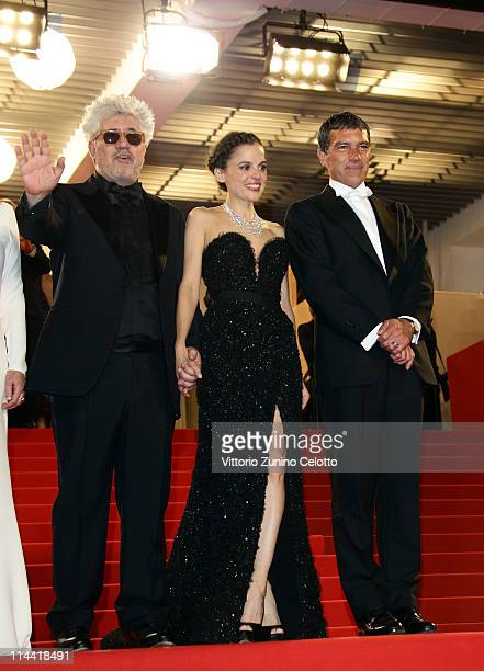Director Pedro Almodovar Elena Anaya and Antonio Banderas attend the The Skin I Live In premiere at the Palais des Festivals during the 64th Cannes...
