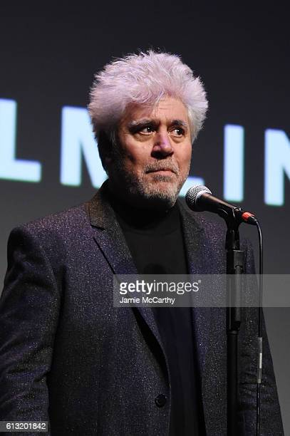 Director Pedro Almodovar speaks onstage at the Julieta intro and QA during the 54th New York Film Festival at Alice Tully Hall on October 7 2016 in...