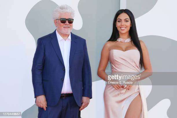 "Director Pedro Almodóvar and Georgina Rodriguez walk the red carpet ahead of the movie ""The Human Voice"" and ""Quo Vadis, Aida?"" at the 77th Venice..."