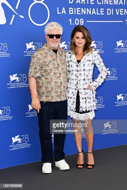 """Director Pedro Almodóvar and Penélope Cruz attend the photocall of """"Madres Paralelas"""" during the 78th Venice International Film Festival on September..."""