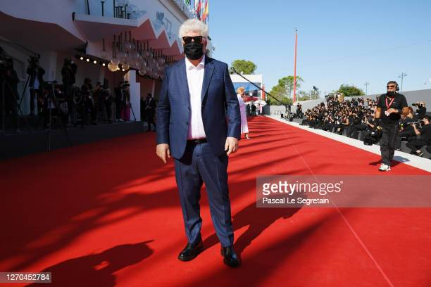 """Director Pedro Almodóvar walks the red carpet ahead of the movie """"The Human Voice"""" and """"Quo Vadis, Aida?"""" at the 77th Venice Film Festival at on..."""
