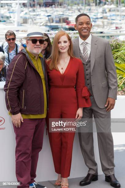 Director Pedro Amoldovar actress Jessica Chastain and actor Will Smith attends the Jury photocall during the 70th annual Cannes Film Festival at...