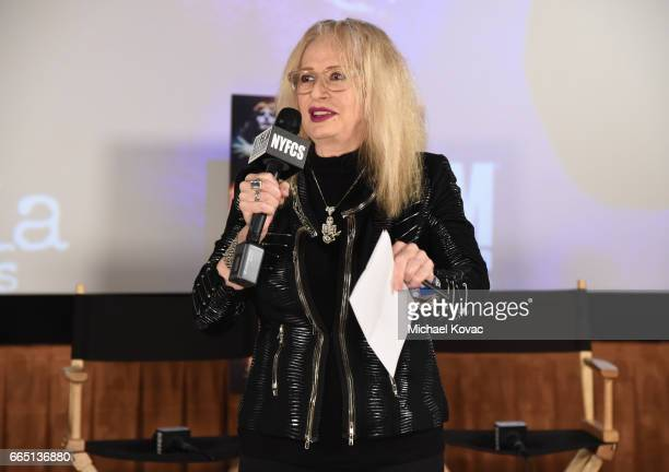 Director Penelope Spheeris speaks onstage at the screening for SHOT The Psycho Spiritual Mantra of Rock at The Grove presented by CITI on April 5...