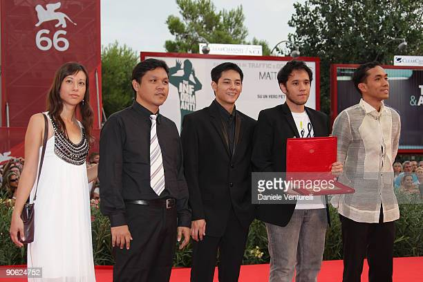 Director Pepe Diokno actor Felix Roco and cast and crew of 'Engkwentro' attend the Closing Ceremony Red Carpet And Inside at The Sala Grande during...