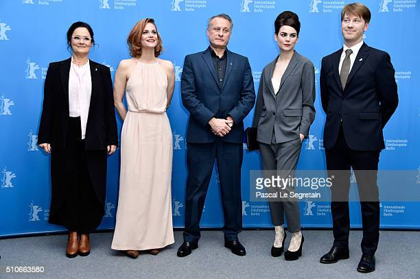 Director Pernilla August actors Liv Mjones Michael Nyqvist Karin Franz Korlof and producer Patrik Andersson attend the 'A Serious Game' photo call...