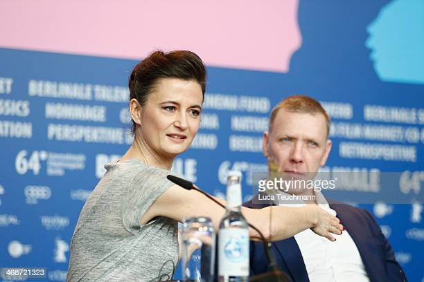 Director Pernille Fischer Christensen and actor Mikael Persbrandt attend the 'Someone You Love' press conference during 64th Berlinale International...
