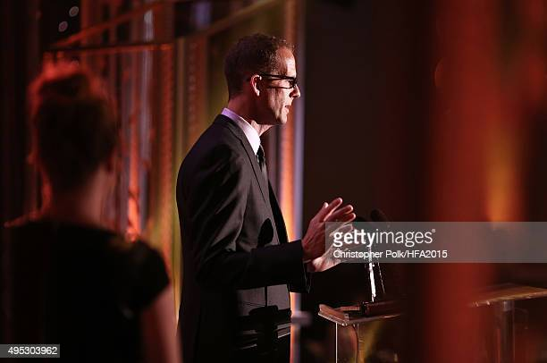 Director Pete Docter accepts the Hollywood Animation Award for 'Inside Out' onstage during the 19th Annual Hollywood Film Awards at The Beverly...