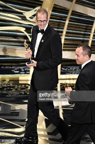 Director Pete Docter and producer Jonas Rivera accept the Best Animated Feature Film award for 'Inside Out' onstage during the 88th Annual Academy...