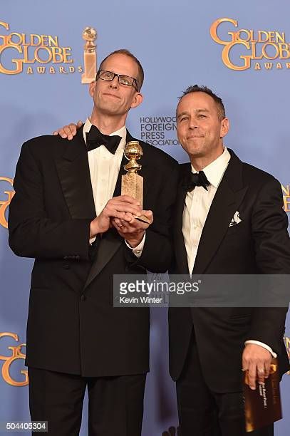 Director Pete Docter and producer Jonas Rivera winners of Best Animated Feature Film for 'Inside Out' pose in the press room during the 73rd Annual...
