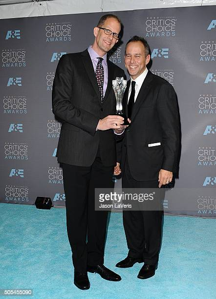 Director Pete Docter and producer Jonas Rivera winners of Best Animated Feature for 'Inside Out' pose in the press room at the 21st annual Critics'...