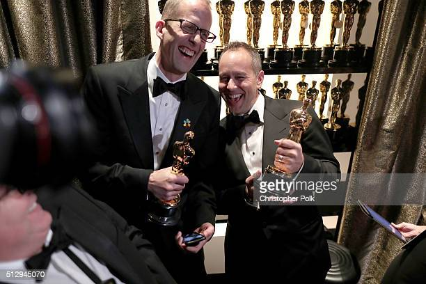 Director Pete Docter and producer Jonas Rivera winners of the Best Animated Feature Film award for 'Inside Out' backstage at the 88th Annual Academy...
