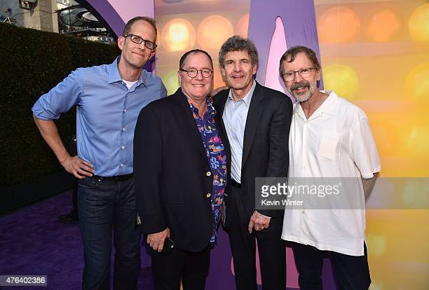 Director Pete Docter executive producer John Lasseter Walt Disney Studios Chariman Alan Horn and President of Pixar Animation Studios and Walt Disney...