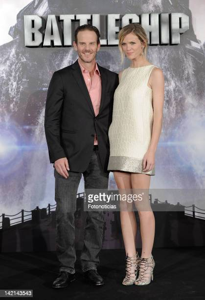 Director Peter Berg and actress Brooklyn Decker attend a photocall for 'Battleship' at Villa Magna Hotel on March 30 2012 in Madrid Spain