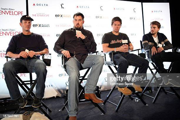 Director Peter Berg United States Navy SEAL Marcus Luttrell actors Mark Wahlberg and Emile Hirsch attend the LA Times Envelope Screening Series 'Lone...