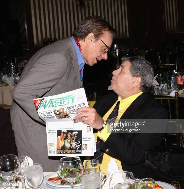 Director Peter Bogdanovich and actor Jerry Lewis reading Daily Variety at The 30th Annual Los Angeles Film Critics Association Awards at The St Regis...