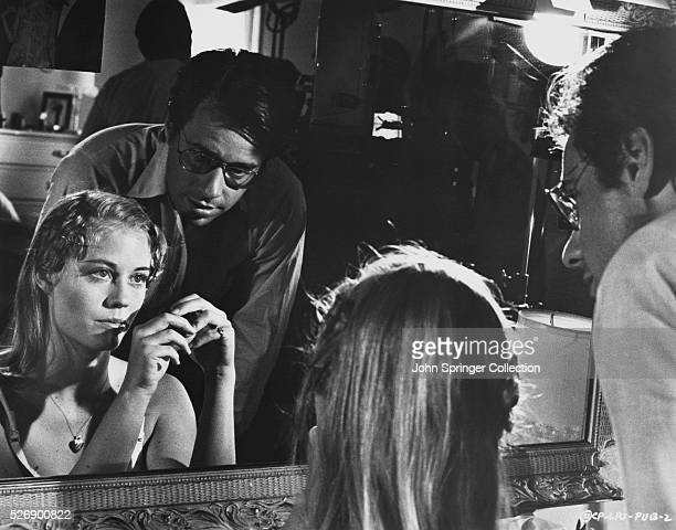 Director Peter Bogdanovich speaks with Cybill Shepherd on the set of the 1971 film The Last Picture Show