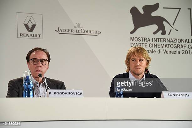 Director Peter Bogdanovich wearing a JaegerLeCoultre Master Hometime Aston Martin watch and actor Owen Wilson attend the 'She's Funny That Way' press...