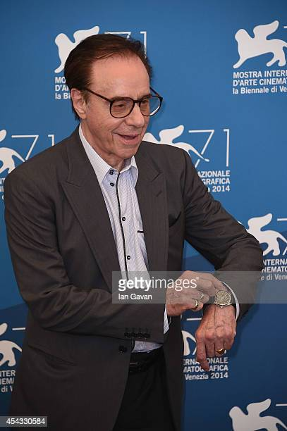 Director Peter Bogdanovich wearing a JaegerLeCoultre Master Hometime Aston Martin watch attends the 'She's Funny That Way' photocall during the 71st...