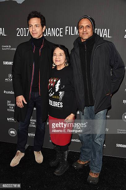 Director Peter Bratt Dolores Huerta and Actor Benjamin Bratt attend the 'Dolores' premiere during day 2 of the 2017 Sundance Film Festival at Library...