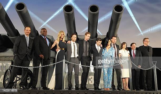 Director Peter Burg actor Gregory D Gadson actress Brooklyn Decker actors Taylor Kitsch Alexander Skarsgard and Rihanna attend the 'Battleship' World...