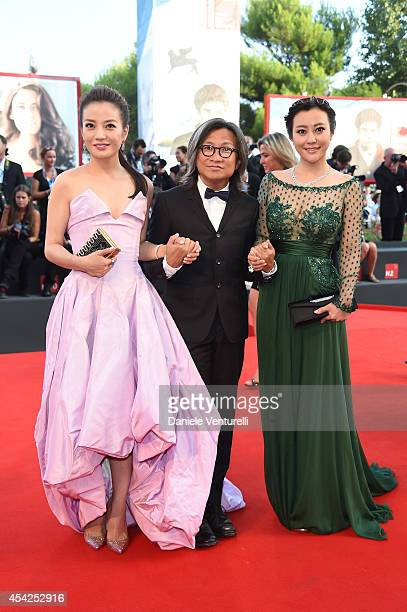 Director Peter Chan with actress Wei Zhao and actress Lei Hao attends the Opening Ceremony and 'Birdman' premiere during the 71st Venice Film...