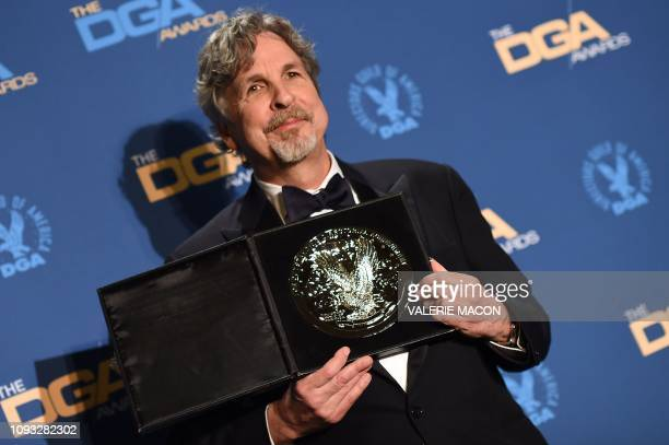 Director Peter Farrelly poses with the Nomination Medallion for Outstanding Directorial Achievement in Feature Film for Greenbook in the press room...