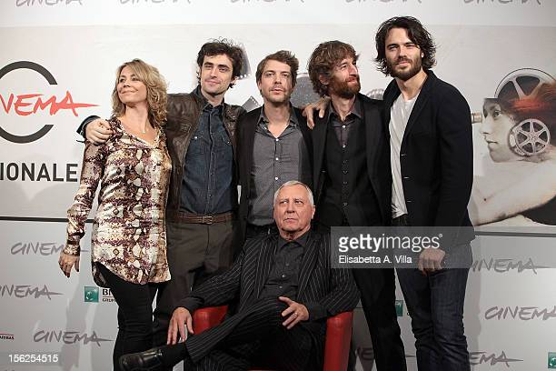 Director Peter Greenaway poses with actors Anne Louise Hassing Flavio Parenti Ramsey Nasr Stefano Scherini and Giulio Berruti as they attend the...