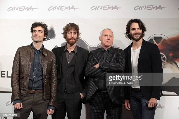 Director Peter Greenaway poses with actors Flavio Parenti Stefano Scherini and Giulio Berruti as they attend the Goltzius and the Pelican Company...