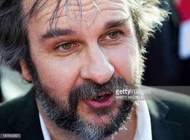 Director Peter Jackson speaks to reporters at the world premiere of 'The Hobbit' movie in Courtenay Place in Wellington on November 28 2012 Huge...