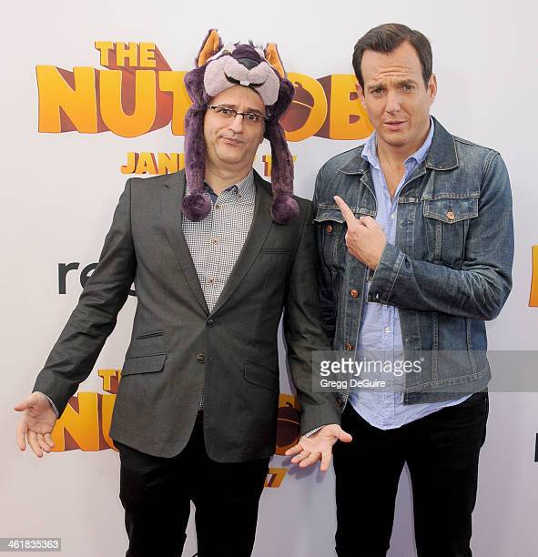Director Peter Lepeniotis and actor Will Arnett arrive at the Los Angeles premiere of 'The Nut Job' at Regal Cinemas LA Live on January 11 2014 in...