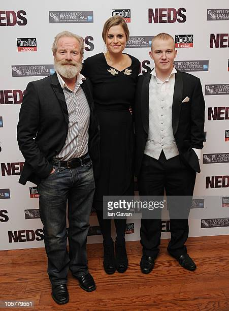 Director Peter Mullan actress Marianna Palka and actor Conor McCarron attend the NEDS premiere during the 54th BFI London Film Festival at the Vue...