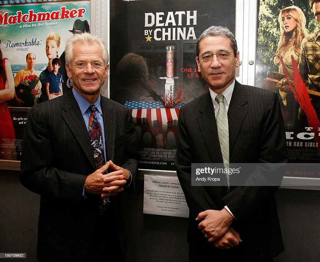 Director Peter Navarro and Gordon Chang attend the 'Death By China' screening at the Quad Cinema on August 24, 2012 in New York City.
