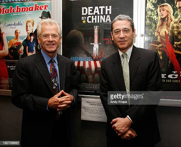 Director Peter Navarro and Gordon Chang attend the Death By China screening at the Quad Cinema on August 24 2012 in New York City